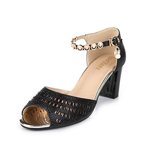 L@YC® Frauen Sandalen Wort WöLbung Weibliche Sommer Tasche High Heels Mit Party WasserfäLle Fisch Mund Tanz Damenschuhe Black LoVHx4