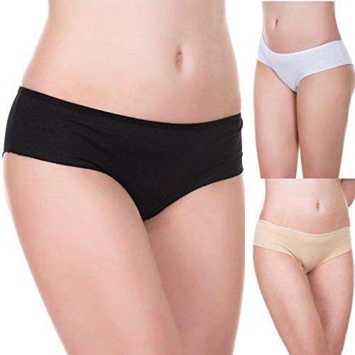 Evoni Damen-Slips aus Baumwolle, 3er-Set, Größe S, Brazilian Panties, Höschen in Weiß, Schwarz & Beige, Bequeme Unterhosen im Multipack, sexy Hipster-Panty für Frauen