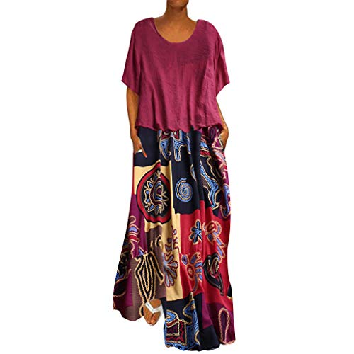Carolui Frauen Plus Size Patchwork Langes Kleid Zweiteilige Oansatz Kurzarm Top Vintage Print Lose Maxi Kleider(Heiß Rosa,L)