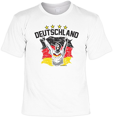 Fußball Set, T-Shirt mit Hut, Fanartikel, Sonnenhut, Trikot - Deutschland Schwarz Rot Gold! Weiß