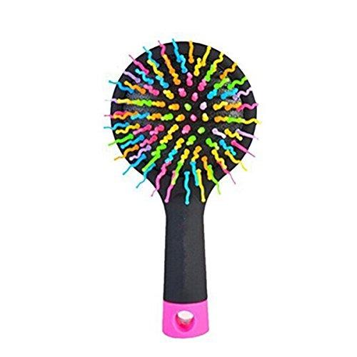 LEORX Rainbow Volumen Brush Magic Hair Curl cepillo de peine recto con espejo (Negro)
