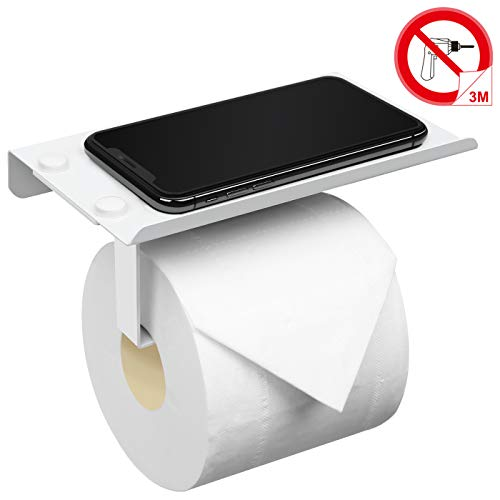 Accoona Toilettenpapierhalter/WC Papierrollenhalter/Papierhalter/Rollenhalter mit praktischer Ablagefläche,304 Edelstahl, Weiß