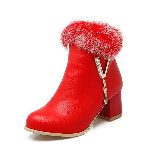 AllhqFashion Damen Rund Zehe Anhänger Niedrig-Spitze Mittler Absatz Stiefel Rot