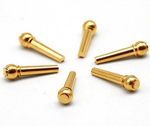 MINGZE Brass Gitarre Bridge Pins Endpin 6 Stück, Gitarre Brücke Pins Ersatzteile aus Kupfer (Bridge Tusq Pins)