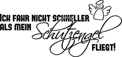 Preisvergleich Produktbild Auto Aufkleber Autoaufkleber Tattoo für Auto Spruch Ich fahre Schutzengel Engel (21x10cm // 070G schwarz)