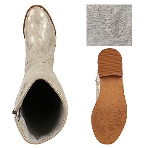 Gefütterte Holzoptikabsatz Schuhe Creme Damen Klassische Stiefel AqBEtt