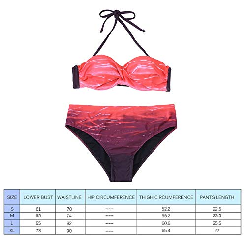 Voqeen Costume da Bagno Donna Due Pezzi Sexy Bikini Donna Costumi da Bagno Donna Mare Push-up Bandeau Top Reggiseno Imbottito Beachwear Swimsuit Donna Spiaggia Backless Halter Bikini Costume Tankini