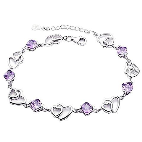Argent 925 Bracelet Ajustable Cristal en Forme De Coeur Bracelet
