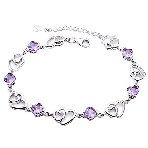 Contever® Adjustable 925 Sterling Silver Crystal Heart-shaped Bracelet Bangle for Women Length: 18.5cm + 4 cm