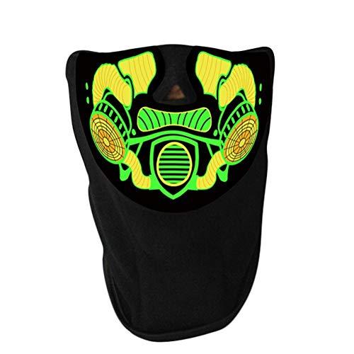 Rcraftn Halloween Maske Mask Musik LED Sound Aktiviert Leuchtmaske Sprachsteuerung Musik Party Maske Scary Cosplay Maske Für DJ Kostüm Festival Halloween Ostern Silvester Party