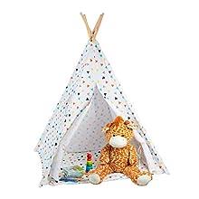 Relaxdays, blanc jeu enfants, Tipi intérieur extérieur tente Indien Wigwam, HxlxP:160 x 115 x 115 cm, coloré, 10028906