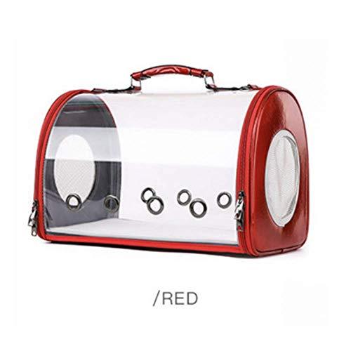 IROSE Nuova Capsula Spaziale di Moda Borsa per Gatto Traspirante Poroso per Animali Domestici Portadocumenti Trasparente Capsula Spaziale per Animali Domestici Rosso