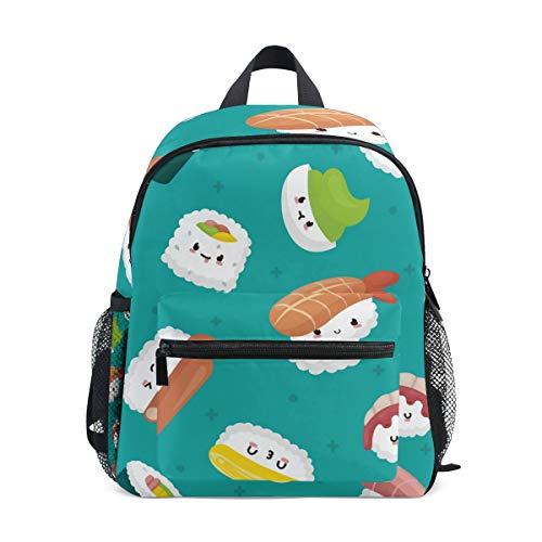 Qmin - zainetto per bambini con emoji di sushi giapponese, borsa a tracolla per bambini e bambine
