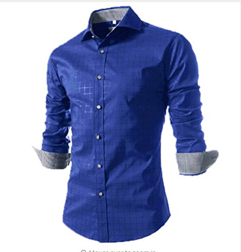 Men's knitted Collar Spell Color Long Sleeved Shirts red
