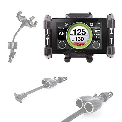Fixation / chargeur double allume cigare + support voiture pour GPS/assistant d'aide à la conduite Coyote Nav,Mappy Maxi E618 Europe - DURAGADGET