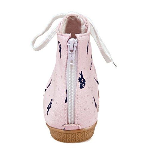 TAOFFEN Femmes Bottillons Sandales Mode Clip Toe Lacets Plat Ete Chaussures 764 Rose