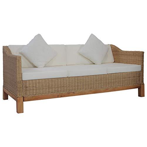 vidaXL Sofa 3-Sitzer mit Polstern Couch Rattansofa Loungesofa Sitzmöbel Wohnzimmersofa Rattanmöbel Designsofa Korbsofa Natur Rattan