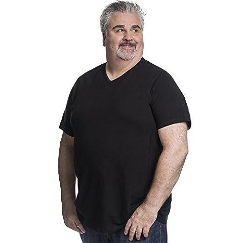 T shirt Herren V-hals Doppelpack Basic 2 Stück T-Shirt - Übergrößen bis 8XL für Männer mit Übergröße Bauchumfang Schwarz 4XL-B