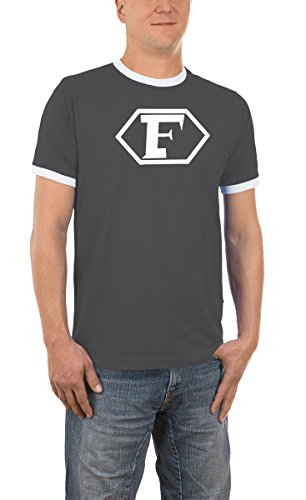 Captain Future Logo Kontrast / Ringer T-Shirt Darkgrey/White, XL (Held Ringer)