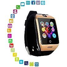 LayOPO Reloj Inteligente con cámara, Q18 Smartwatch Impermeable Sport Smart Fitness Tracker Reloj de Pulsera