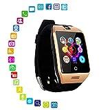 LayOPO Smart Watch mit Kamera, Q18 SmartWatch Wasserdicht Sport Smart Fitness Tracker Armbanduhr mit Sim Card Slot Kamera Schrittzähler für Android Smartphones Goldfarben/Schwarz