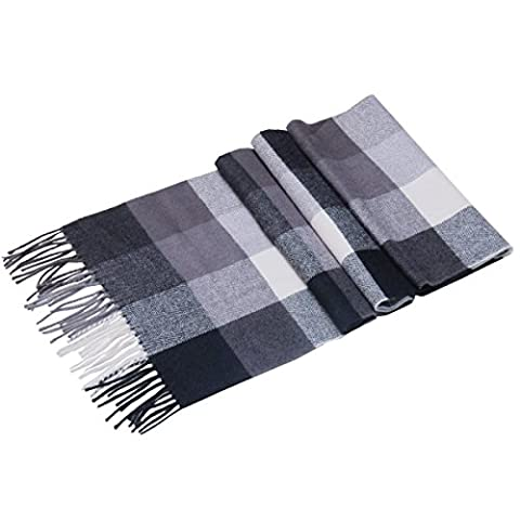 Saferin Men Winter Tartan Women Scarf Plaid Warm Cashmere Wool Soft Scarf (UK3-5 Black Grey Plaid)