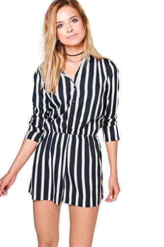 Femmes Noir Bry Striped Shirt Playsuit Noir