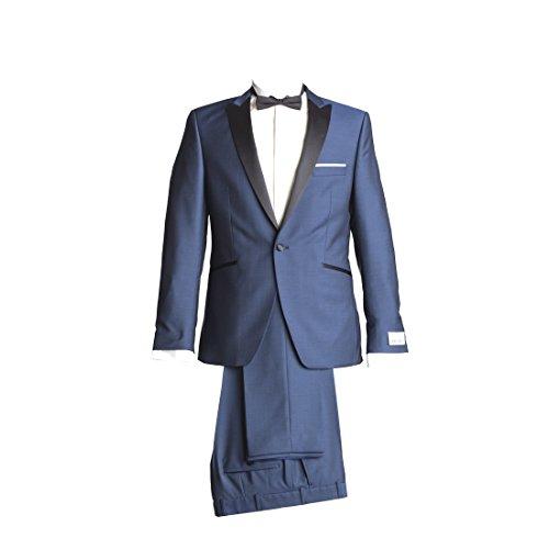 WILVORST Anzug Smoking Sakko Smoking Hose ohne Bundfalte Mitternachtsblau Drop8 Extra Schmal Tailliert Geschnitten Runder Schalkragen 84% Wolle 16% Mohairwolle 230g 54 (Schalkragen-hosen-anzug)
