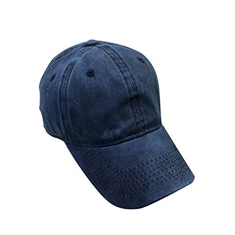 Tinksky Gewaschene gefärbte Baseballmütze-Hut-justierbare Baumwollkappe für Männer und Frauen (Marineblau)