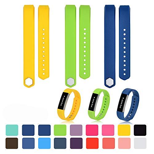 iFeeker Klein Size Bunte Weiche Silikon Ersatz Sport Uhrenarmbänder Armband Strap für Fitbit Alta/Alta HR mit Kostenlosen Sicheren Verschluss Ringe (Gelb + Kalk + Dunkelblau) (Flagge Und Helle Blaue Gelbe)