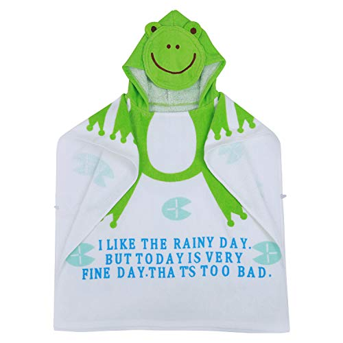 Semoic 100% cotone Beach bambino abito del bambino Accappatoio teli da mare capo del mantello del neonato del fumetto animale incappucciato di bagno del bambino del tovagliolo (rana)