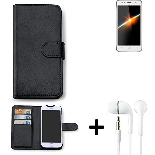 K-S-Trade Hülle für Siswoo C50 Longbow Schutz Wallet Case Walletcase schwarz Handytasche Klapphülle inkl. Kopfhörer in Ear Headphones