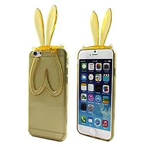 """HUAYANG Nouveau Coque Mignon Conception Oreilles de Lapin Support de Téléphone Silicone Etui Pour 5.5 """"iPhone 6 Plus (Or)"""