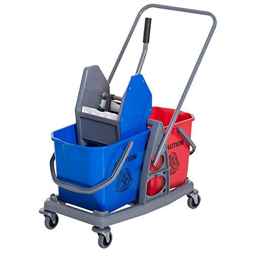 homcom carrello delle pulizie professionale 2 secchi capacità 25l strizzatore 73 × 45 × 92cm