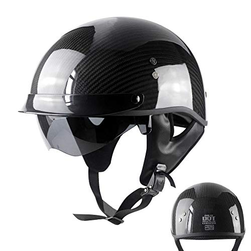 DKZK Half Face JetHelm, Carbon Helm Retro Motorrad Harley Helm Cruiser Skateboard Jet Helm Prince Helm FüR BrillenträGer Integrierter Sonnenschutz, DOT Zertifizierter Offener Helm