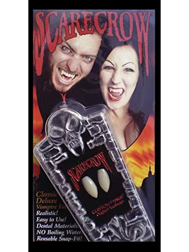 Halloweenia - Klassische Deluxe Vampir-Fangzähne, Weiß, in Sarg-Box, Kostüm Accessoires Zubehör, perfekt für Halloween Karneval und Fasching, Weiß