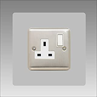 Single Socket Surround | Square | Acrylic Back Panel or Finger Plate | Light Switch Plug, Colour: Grey