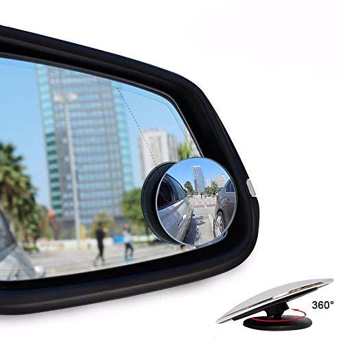 Spiegel, rund, Rahmenlos, 360 ° drehbar, verstellbar, HD Glas, konvexer Stick auf Seitenspiegel für alle Autos (Silber)