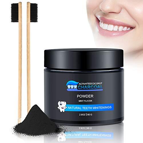Aktivkohle-pulver (Aktivkohle Pulver Natürliche Zahnaufhellung 100% Activated Charcoal Teeth Whitening Powder Zahnreinigung für Weiße Zähne Mint Flavour Ohne Zusätze Weiße Bleaching Zähne mit 2 Bambuskohlezahnbürsten)