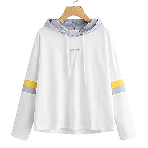 Femme Capuche, Feixiang & # X2648; personnalisation Exclusive Mode pour femme à rayures Broderie Lettre Sweat à capuche Pull XL blanc