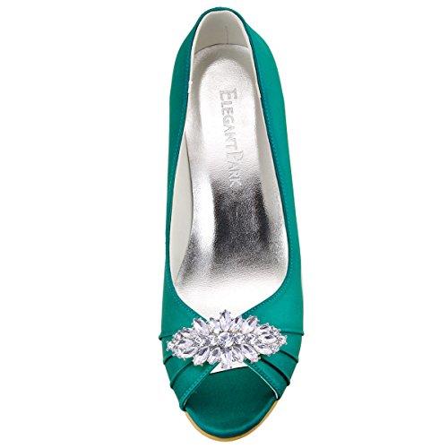 ElegantPark WP1547 Escarpins Femme Talon Compense Satin Bijou Mobile Diamant Fleur AF01 Chaussures de Soiree AW Sarcelle