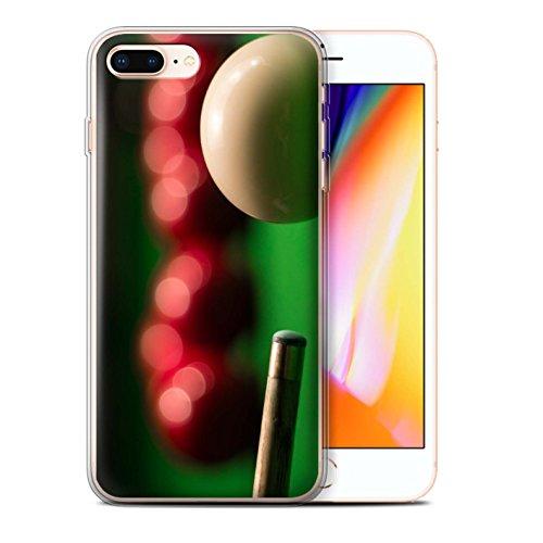 Stuff4 Gel TPU Hülle / Case für Apple iPhone 8 Plus / Blaue Kugel/Rack/Rosa Muster / Snooker Kollektion Queue Kugel