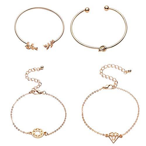 Toporchid Frauen Armband Mode Popularität Koreanische Blatt Diamant verknotete geschnitzten Durchbrochenen Armband Set - Hand Geschnitzten Blättern