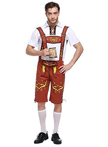 Costour Herren Oktoberfest Bayarische Trachtenhosen mit Trachtenhemd Kostüme Karneval Fasching Cosplay Set