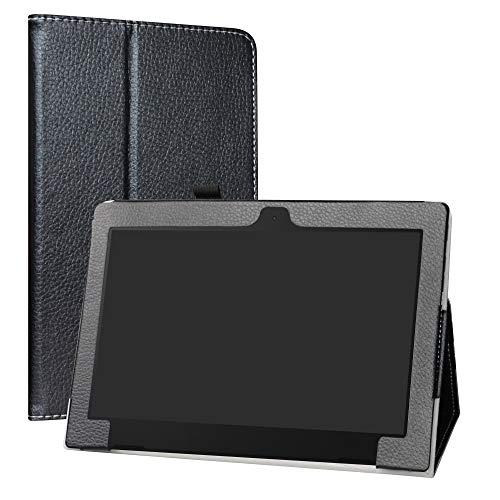 Labanema Lenovo IdeaPad D330 Hülle, Slim Fit Folio PU Leder dünne Kunstleder Schutzhülle Cover Schale Etui Tasche für Lenovo IdeaPad D330 (10,1 Zoll) Notebook - Schwarz
