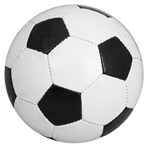 Fußball, traditionell, Größe 5, Schwarz und Weiß, Lederoptik -