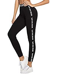 SOLY HUX Femme Pantalon Legging Rayé Imprimé De Lettre Leggings Sculptants Taille Haute Femme Push-Up ficelles Sport Yoga Collant Gainant