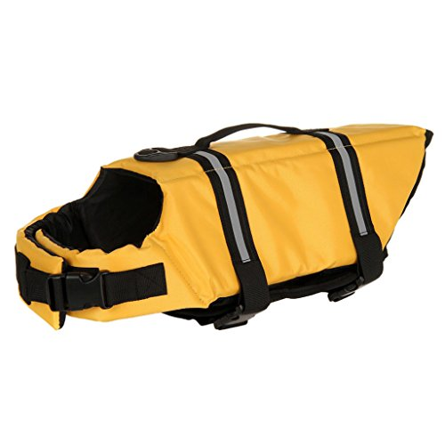 Generic Dog Aquatic Reflective Preserver Safety Float Vest Saver Life Jacket YLW M