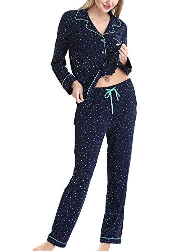 Damen Schlafanzüge Nachtwäsche langen Ärmeln Pyjama by Nora Twips, Farbe Stern Gr. S