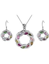 colorfey S925plata de ley Collar con colgante y pendientes Forma de Gota con naturales hechos a mano elegante joyas para mujeres niñas